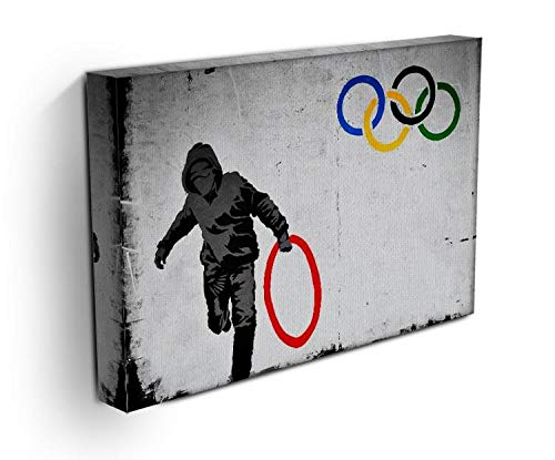 Banksy Olympic Rings Looter Stretched Canvas Print 90cm x 65cm