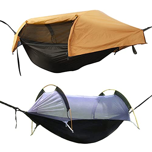 OHMU Camping Hammock with Mosquito Net and Rainfly Cover Portable Hammock Tent (Orange)