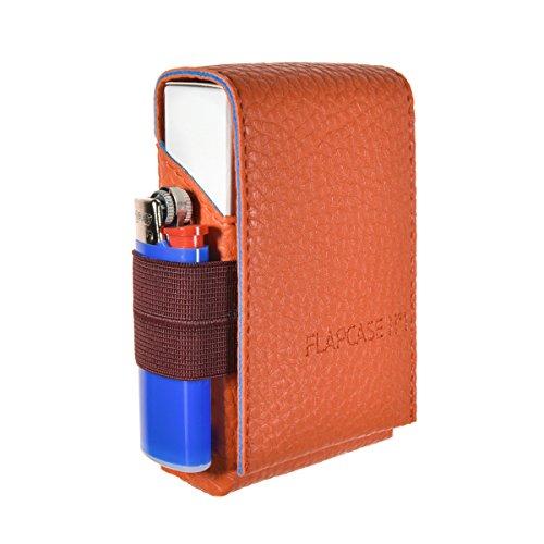 ZÄSAR FLAPCASE N°1 ? Sunrise Orange ? Designer Zigarettenetui Made in Austria, Leder vegan Zigarettenbox für 19, 20, 21 Zigaretten Packungen, reg. King-Size