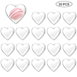 Zezzxu Clear Plastic Heart Shape Box Fillable Ornaments, Pack of 20 Hanging Ornaments Party Favor Box with 1 Roll Pink Ribbon for Crafts Baby Shower Wedding Anniversary (80mm)