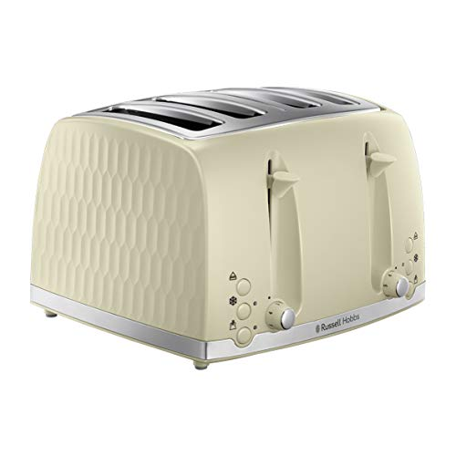 Russell Hobbs 26072 4 Slice Toaster - Contemporary Honeycomb Design with Extra Wide Slots and High Lift Feature, Cream