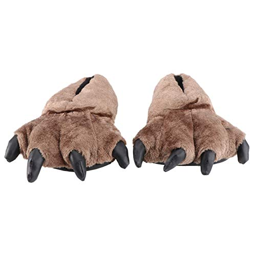Holibanna 1 Paar Bär Stofftier Klaue Pfote Hausschuhe Niedlichen Plüsch Flauschig Warme Hausschuhe Kostüm Schuhe Winter Hausschuh (Braun Größe 36-43) (Braun)