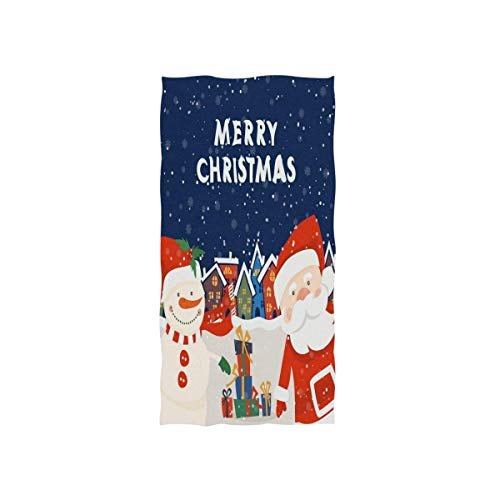 Christmas Snowman Santa Claus Xmas Gift Snowflakes Hand Towels Soft Highly Absorbent Decorative Multipurpose Towel for Bathroom,Face,Gym and Spa (27.5'x15.7')