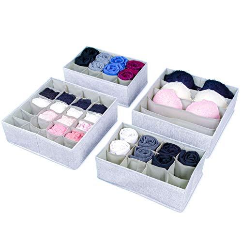 SIMPLE JOY Schubladen Organizer passgenau für I K E A; Stabiler Boden; Ordnungssystem für Socken, BH, Unterwäsche; Aufbewahrungsboxen, Stoffboxen in grau (Pax)