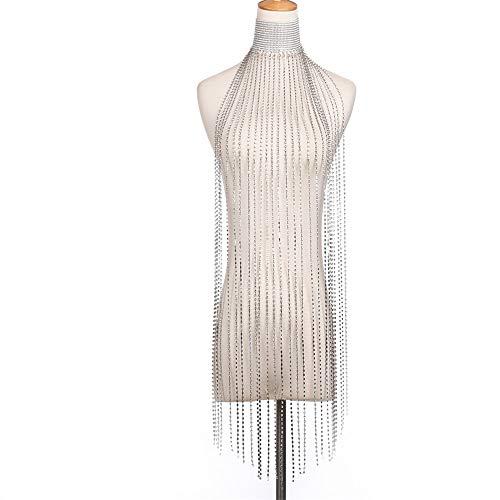 Artesanía Innovadora Cadena de Pecho Colgante esling Diamond Fringed Cuerpo Cadena Europea y Americana Sexy Tienda de Taladro Cadena de Cuerpo de Dama Creativa (Color : Silver)