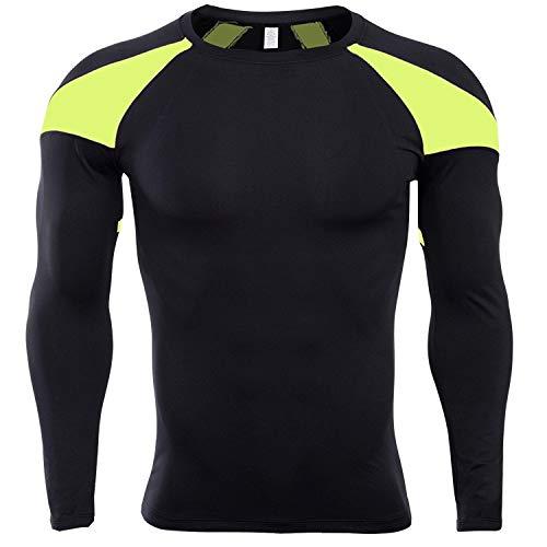 Tenue de Sport SIGETU Hommes Manches Longues Séchage Rapide Sport Zys (Couleur : Black Green, Size : L)