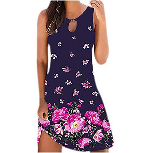 Sommerkleid Damen Kurz Lässiges Leichte Sommerkleider für Damen Kleider Sommer Blummenmuster A-Linie Kleid mit Taschen (M, f-Lila)