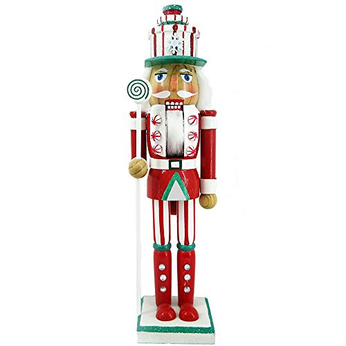 Christmas Holiday Wooden Nutcracker Figure Soldier King with Traditional Red, White, and Green Uniform Jacket with Peppermint Details, Gift Box Hat & Sparkle Rhinestones, Large, 15 Inch