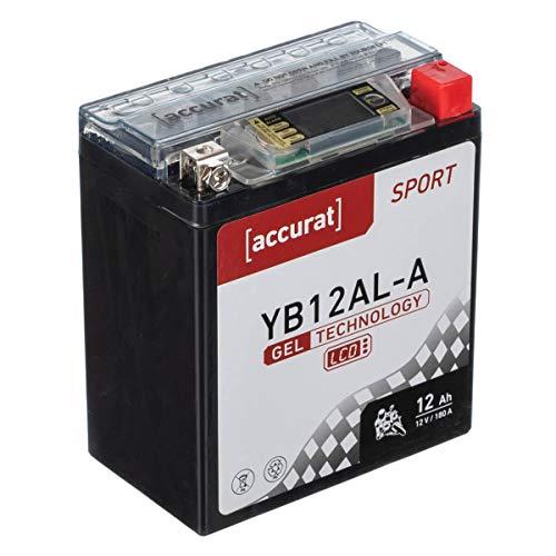 Accurat Motorradbatterie YB12AL-A 12Ah 180A 12V Gel Technologie + LCD Display Starterbatterie leistungsstark rüttelfest ABS geeignet wartungsfrei