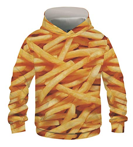 ATERAIN 3D Print Hoodies Sweatshirts French Fries Tracksuits for Teen Girls Boys Tie-Dye Pullover