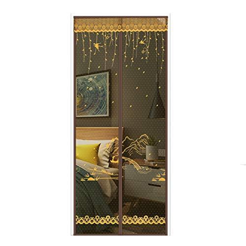 Nileco Magnetische beeldschermdeur, 31 x 79 inch dimmen, magnetische deur met zware mesh gordijn en volledig frame, haak & pluizig