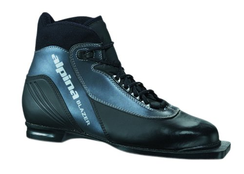 Alpina Blazer Cross-Country Nordic Ski Boots with 3-Pin Soles, Black/Anthracite, 42
