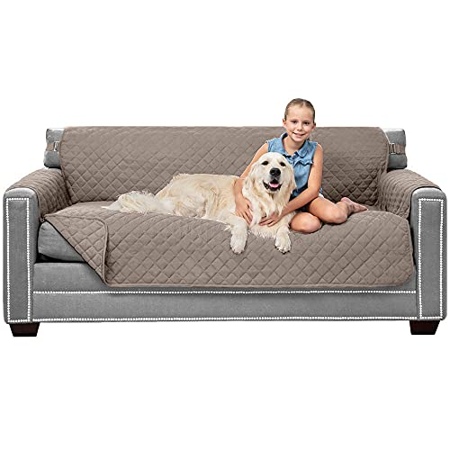 """Sofa Shield Patented Slipcover, Reversible Tear Resistant Soft Quilted Microfiber, 70"""" Seat Width, Durable Furniture Stain Protector with Straps, Washable Couch Cover for Dogs, Kids, Light Taupe"""