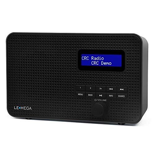 LEMEGA DR1 Radio digitale portatile DAB/DAB + / FM, doppio allarme, orologio da cucina/sleep/snooze timer, 20 stazioni preimpostate, uscita cuffie, alimentato a batteria e USB, radio portatile - Nero