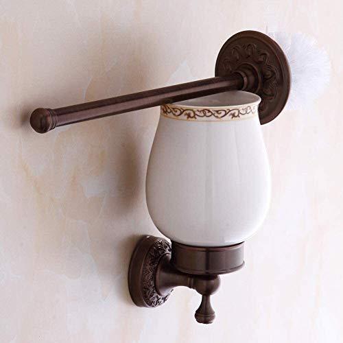 Wc borstelhouder Badkamer gesneden antieke toiletborstel Ceramic Cup Geel Koper Messing toiletborstelhouder, zwart leilims (Color : Brown)
