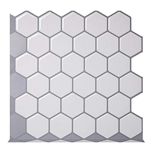 SMXGF Hexagon Off White VinylSticker Zelfklevend Wallpaper 3D Peel en Stick Plein Muur Tegels for keuken en badkamer