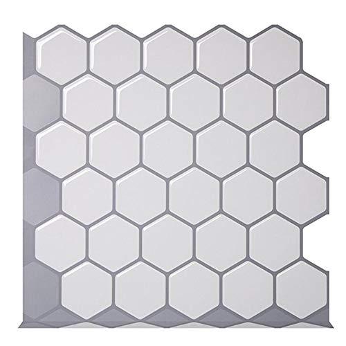 PENGHU Vinilo adhesivo hexagonal blanco roto autoadhesivo 3D Peel and Stick cuadrado azulejos de pared para cocina y baño