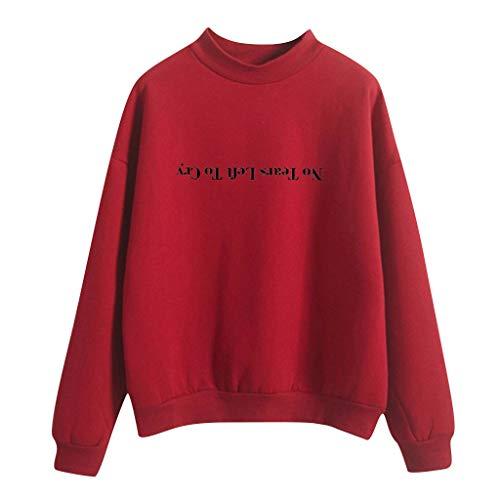 Damen Sommer Herbst Jacke Damen Sweatjacke Hoodie Sweatshirt Pullover Oberteile Kapuzenpullover V Ausschnitt Patchwork Pulli Frauen Bedruckt Stretch Weste Tee Bluse Tops (EU:42, Rot)