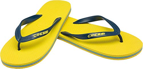 Sandalias Flip-Flop marca Cressi amarillas y azules