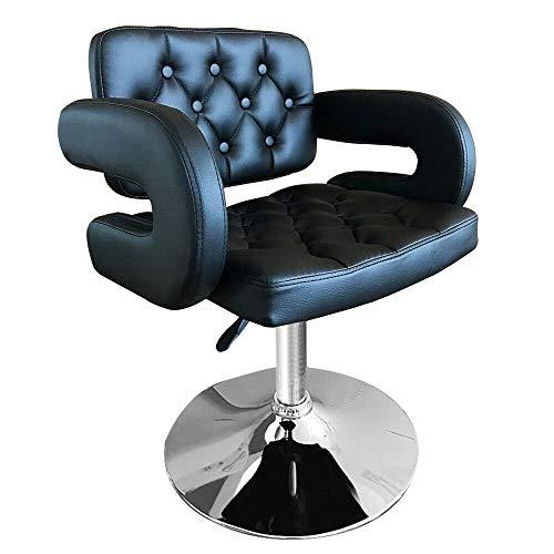 Sillón de peluquería Sillón de peluquería hidráulico para salón de belleza, cuero acolchado ajustable giratorio 360 °, sillón de salón Sillón de peluquería, spa, afeitado,corte de pelo,tatuaje (negro)