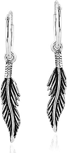 LBBYMX Co.,ltd Collar Moda Bohemia Tribal Pluma Pendientes de aro de Plata esterlina