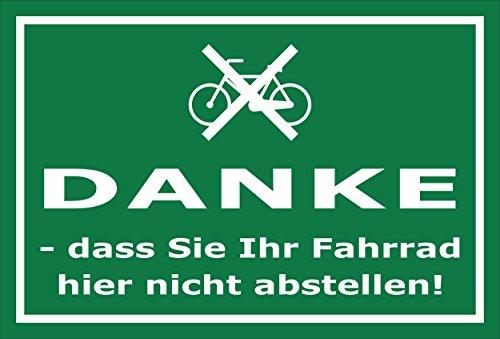 Melis Folienwerkstatt Schild - Fahrrad abstellen - 15x10cm | Bohrlöcher | 3mm Aluverbund – S00050-016-G -20 Varianten