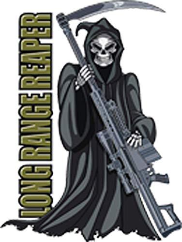 Grim Reaper with with Machine Gun Scythe Cartoon Vinyl Sticker (2' Tall)