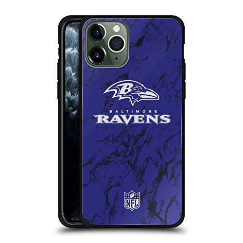 Head Case Designs Officially Licensed NFL Coloured Marble 2018/19 Baltimore Ravens Black Hybrid Glass Back Case Compatible with Apple iPhone 11 Pro