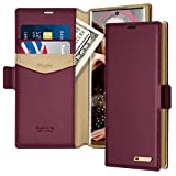 Samsung Note 10 Case, Note 10 Wallet Case, Fingic PU Leather Wallet Case 2 ID & Credit Cards Slots Holder Side Pocket Kickstand Feature Flip Case Cover for Samsung Galaxy Note 10 6.3' (2019)- Wine Red