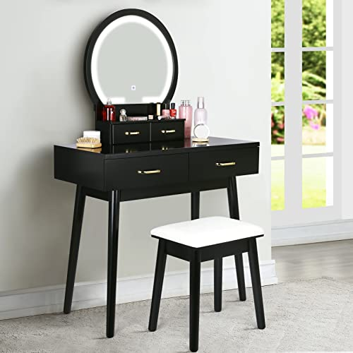 Vanity Desk with Lighted Mirror - Vanity Table Makeup Vanity with Lights, 3 Color Lighting Modes Adjustable Brightness, 4 Drawers Makeup Table with Soft Cushioned Stool for Bedroom Studio, Black