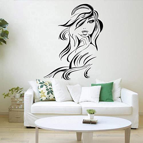 Wopiaol Hot Girl Muursticker voor de woonkamer, haar, schoonheidssalon, kappers; vinyl, wandtattoo, haarknippen, winkel, Nordic Home Decoration
