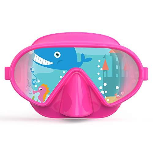 Fxexblin Gafas y Tubo Snorkeling Anti-Vaho Anti-Fuga Máscara de Buceo para Adultos (Pink)