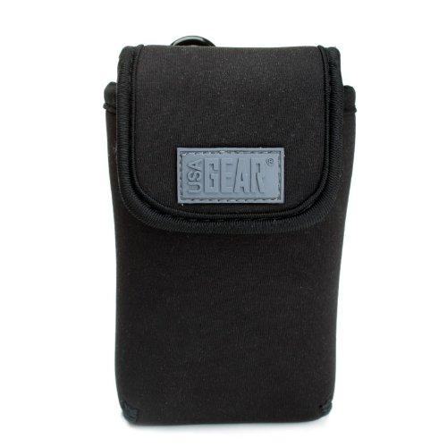 USA Gear Kameratasche für Kompaktkameras: Schwarze Kamera Schutzhülle für Kompakt-/Digitalkameras, schützt Ihre Kamera vor Regen, aus robustem Neopren, mit Karabinerhaken und Öse