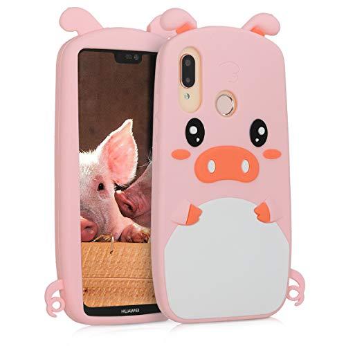 kwmobile Cover Compatibile con Huawei P20 Lite - Custodia in Silicone TPU - Copertina Protettiva Back Case Backcover - Maialino Bianco/Nero/Rosa
