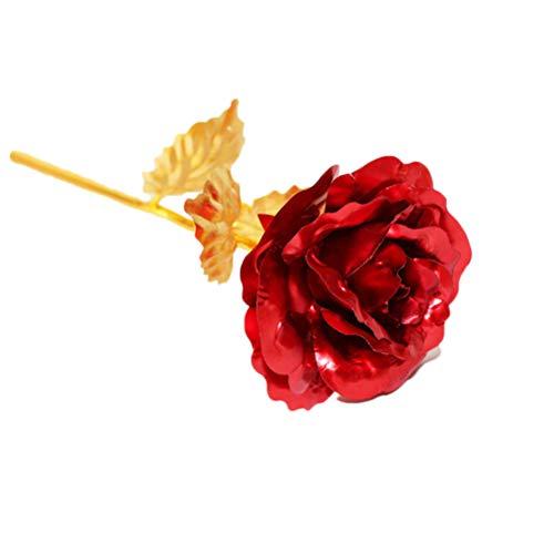 Annstar - Flor de galaxia chapada en oro rosa de 24 quilates con flores artificiales para decoración de Navidad, cumpleaños, hogar, oficina, plástico, Rojo, 24 cm