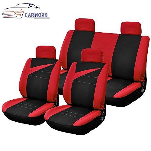 Autositzbezüge Set Rot und Schwarz Mit Composite-Schwamm im Airbag Compatiable Absorbent Anti-Rutsch-Waschbar