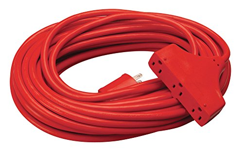 Coleman Cable 42188804 CCI Tri Source Three Receptacle Extension Cord, 50 Ft L, 3 Outlet, 14/3 Awg, 50', Red