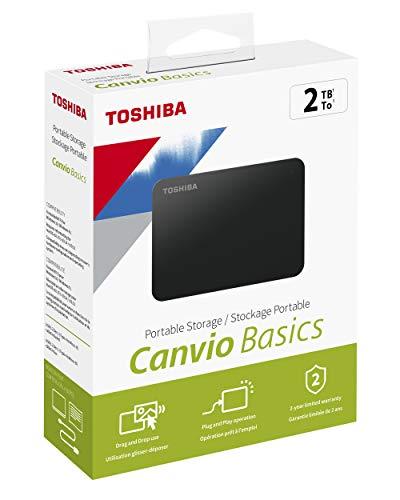 Toshiba HDTB420EK3AA Canvio Basics Tragbare Externe Festplatte USB 3.0, 2TB schwarz