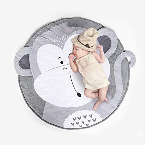 Wuudi Baby Krabbeldecke, Cartoon Weiche Baumwolle Krabbeldecke, Runde Kinder Crawl Teppich, für Spiel Gym Aktivität