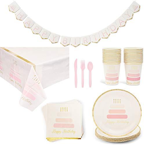 Happy Birthday Party Pack, Includes Dinnerware Set, Tablecloth, and Banner (Serves 24, 146 Pieces)