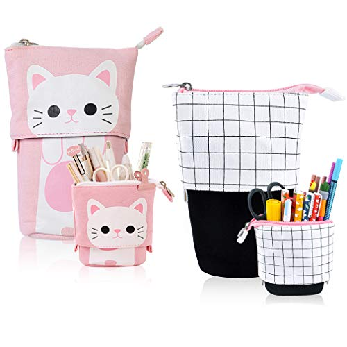 iSuperb 2 Pieces Transformer Pencil Case Stand up Pencil Holder Canvas Cartoon Cute Cat Telescopic Pencil Pouch Zipper Stationery Storage Makeup Bag (2 Pcs Pink+Grid)