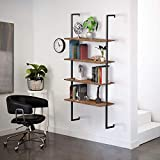 SIMBR 4-Tier Ladder Bookshelf with Metal Black Frame, Wall Mounted Floating Shelves 30 Inches Widened, Industrial Pipe Shelves for Kitchen, Office, Bedroom, Retro Brown