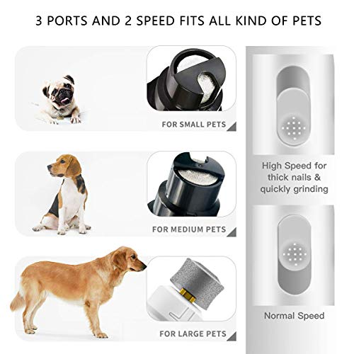 Peteme Dog Nail Grinder Pet Electric Paw Trimmer Clipper Small Medium Large Dogs Cats Portable