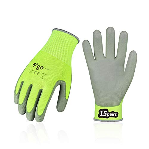 Vgo 15-Pairs Safety Work Gloves, Gardening Gloves, Polyurethane Coated, Dipping Gloves, Latex Free (Size L, Yellow, PU2103)