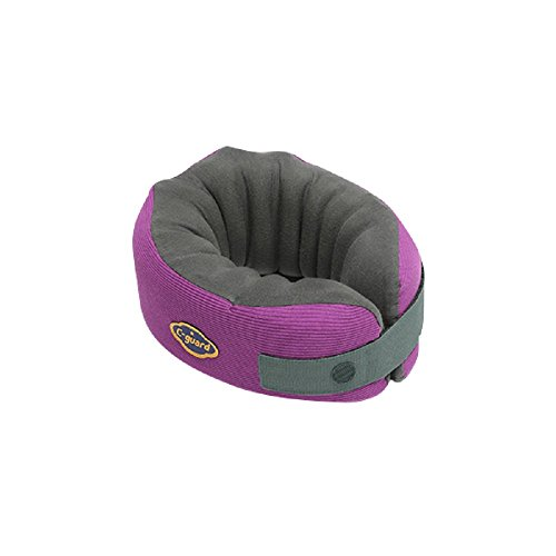 C-guard Neck Pillow - Comfortable Neck Supporter - Ergonomic Structure: Back Supporting Pillars, Vertical Air Channels, Body-Fit Container - Trip, Office - Purple (L)