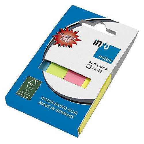 inFO Notes Pagemarker Mix, 4 Blöcke á 100 Blatt, 15x50mm je Block, in einem umweltfreundlichen Karton verpackt (ohne Folie), FSC zertifiziertes Papier