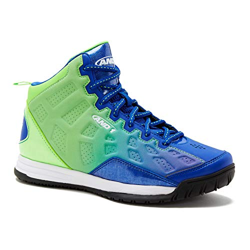 AND1 Kids Show Out Basketball Shoe, 5 M US Big Kid Green/Blue Ombre