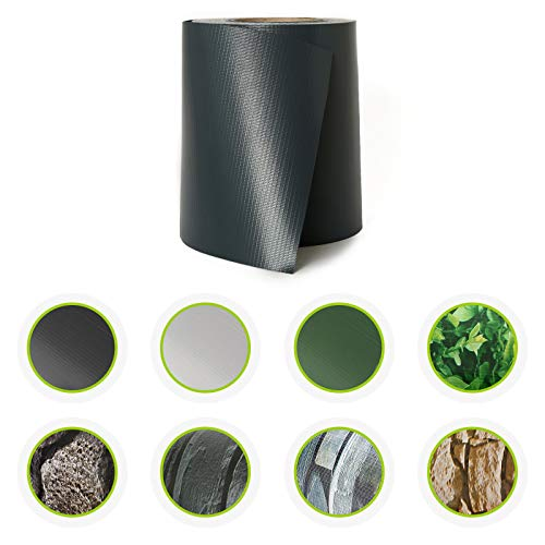 HORI® PVC Sichtschutz-Streifen für Doppelstabmattenzaun I Zaunfolie in Schiefer I Qualität: 450 g/m²