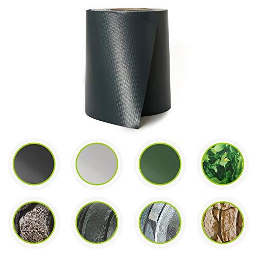 HORI® PVC Sichtschutz-Streifen für Doppelstabmattenzaun I Zaunfolie in Stein-Optik I Qualität: 450 g/m²