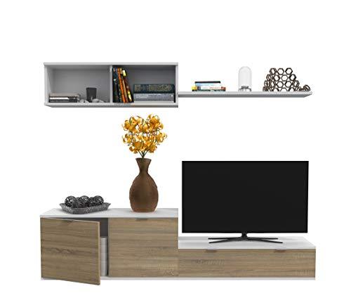 Dormidán- SL1, Mueble de Comedor, Conjunto de Salon, módulo bajo, modulo Colgante (Blanco/Roble, 1.6 Metros)